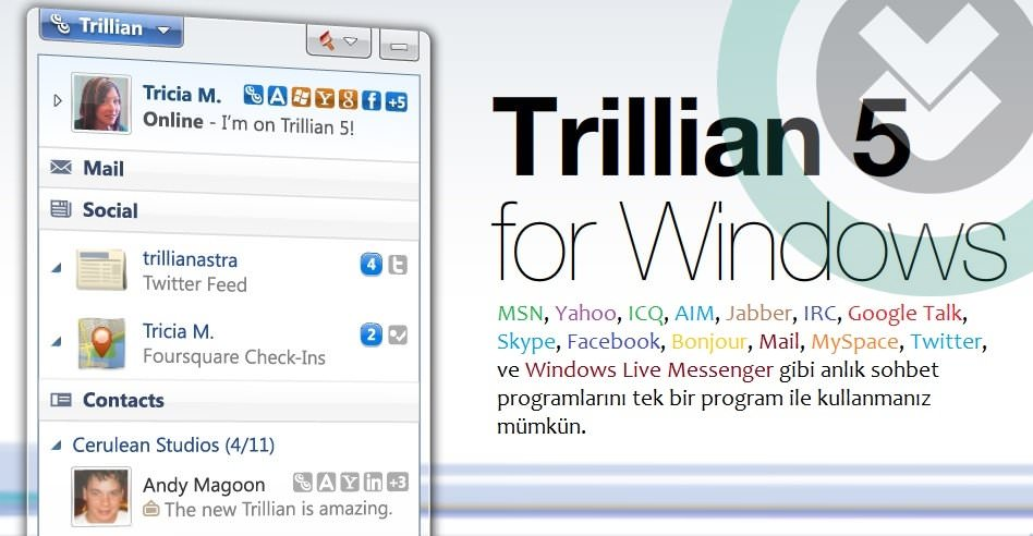 Trillian Pro 5.4 Türkçe Full indir