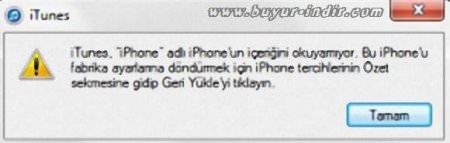 """iTunes """"Bu Iphone'nun içeriğini Okuyamıyor"""" Hatası Çözümü"""
