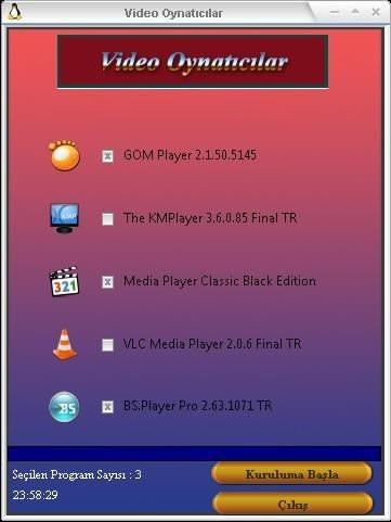 Video Oynatıcı Programlar Paketi Tek Link