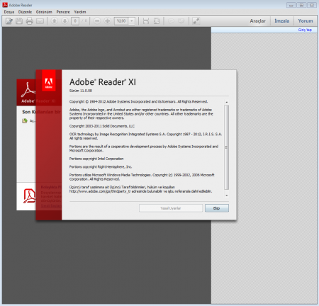 Adobe Reader XI v11.0.16 Türkçe Katılımsız