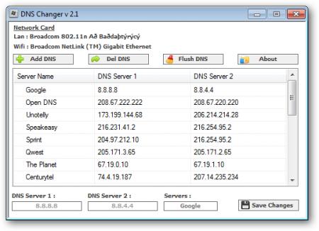 DNS Changer 2.1 Portable indir
