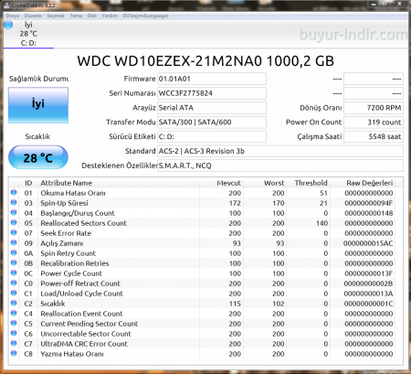 CrystalDiskInfo v6.8.2 Türkçe Portable
