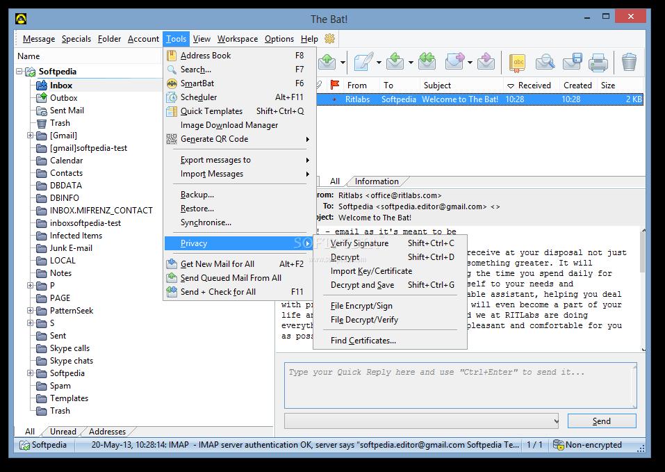 Atomic mail verifier key generator