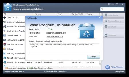 Wise Program Uninstaller v1.92 Türkçe