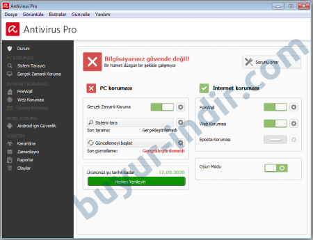 Avira Antivirus Pro v15.0.18.354 Türkçe