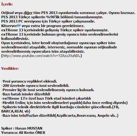 Pes 2013 Türkçe Spiker Yaması