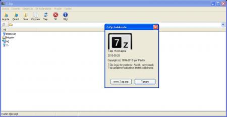 7-Zip v15.03 Alpha Türkçe Katılımsız