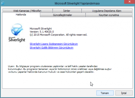 Microsoft Silverlight v5.1.41212.0 Katılımsız