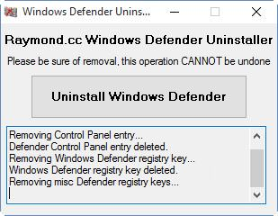 Defender Uninstaller v1.2 - Windows Defender Kaldırma Aracı