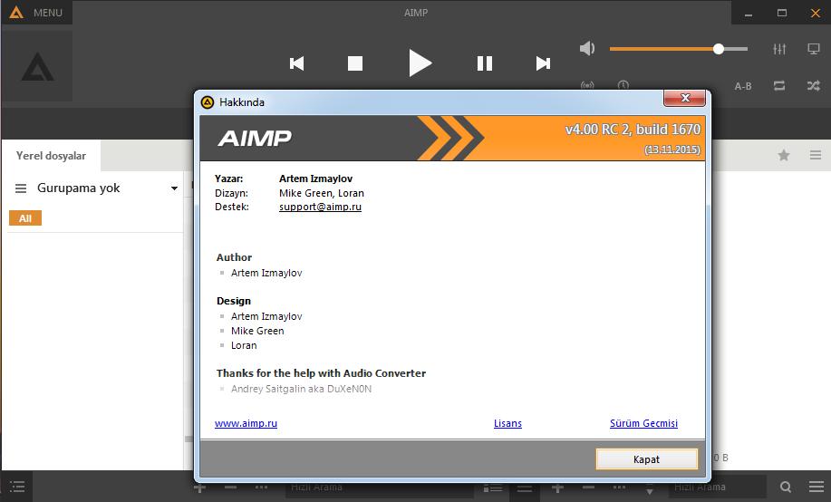 AIMP v4.02 B1725 Türkçe Katılımsız