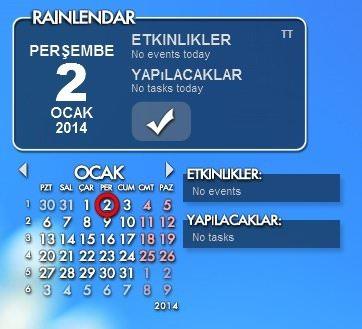 Rainlendar Pro v2.13.1 Türkçe Full indir