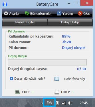 BatteryCare 0.9.26 Türkçe Katılımsız