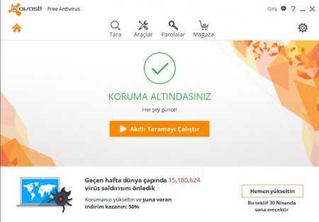 avast! Free Antivirus 2016 v11.2.2732 Türkçe Katılımsız
